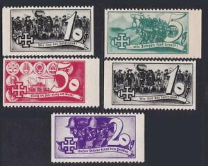 5 pieces Austria 1938 Schuschnigg vignettes MNH Gummed Reproduction Stamp sv