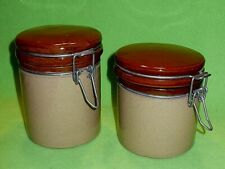(2) MOIRA POTTERY England stoneware canisters with bale wire latches. Vintage