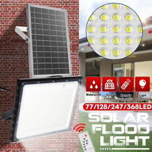 450W 600W LED Solar Flood Light Garden Street Wall Lamp Light Control+Remote W