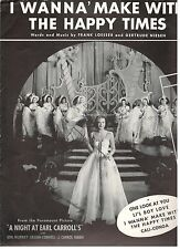 """""""I WANNA' MAKE WITH THE HAPPY TIMES"""" PIANO/V/GUITAR-CHORDS SHEET MUSIC-1940-NEW!"""