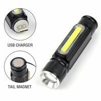 COB T6 Flashlight Torch USB Rechargeable LED Work Light Magnetic Hanging Lamp