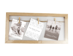 Natural Wood Wooden Box Picture Photo Frame Decorative Washing Line Pegs