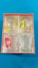 New Whiskey Jiggers_4 Shot Glasses_Road Signs_Anchor Hocking