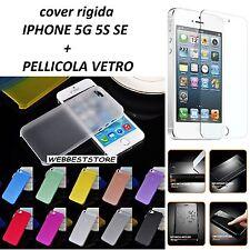 CUSTODIA COVER CASE RIGIDA ULTRASOTTILE APPLE IPHONE 5 5G 5S SE PELLICOLA VETRO