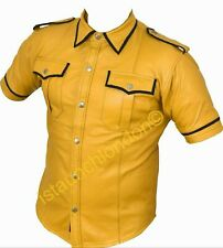 Men Hot Genuine Real Yellow Sheep LEATHER Police Uniform Shirt BLUF Gay
