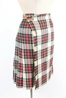 Vintage 100% Wool Plaid Scottish Tartan Skirt Wrap Kilt Women's Size Waist 25