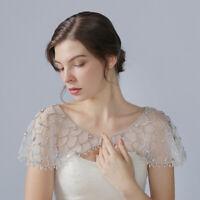 Crystal Bling Beaded White Bridal Wraps Lace Bateau Wedding Shawl Jacket Bolero