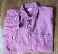 J CREW CHAMBRAY Mens Heather Red 2 Pocket Long Sleeve Button Up Shirt Sz L EUC