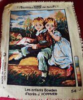 Canevas réalisé - Les enfants Bowden d'après J. Hoppner - 23 x 18 cm