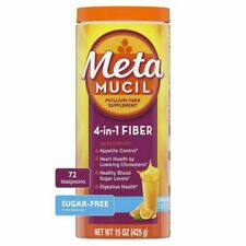 Metamucil 4-in-1 Fiber Supplement Sugar-Free Powder Orange 72 tsp 15 Oz exp 5/22