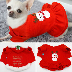 Dog Cat Hoodie Christmas Winter Coat Pullover Dress for Small Medium Dogs Poodle