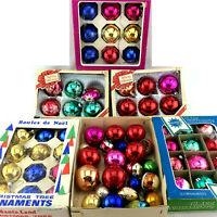 Vintage Christmas Ball Tree Ornaments 68 Lot Glass Shiny Hand Painted Decoration