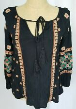 Sundance Top Small Black Orange Embroidered Boho Tie Neck 3/4 Sleeve Shirt FLAW