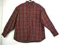 Roundtree & Yorke Mens 2XL 100% Cotton Long Sleeve Plaid Flannel Red Shirt