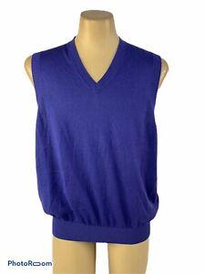 Bobby Jones Collection Men's Large Sweater Vest Purple Silk Cotton Cashmere NWT