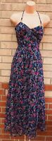 SELECT BLUE PINK FLORAL HALTERNECK CHIFFON SILKY LONG GYPSY TUNIC DRESS 10 S