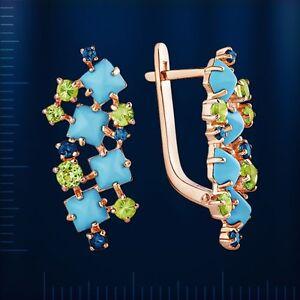 Russian Rose gold 14k/ 585 Turquoise, Peridot,Topaz earrings NWT stunning 4.46g