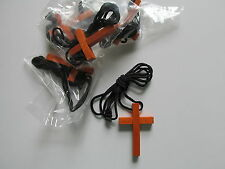 36 Wood CROSS NECKLACES religious church VBS Sunday School jewelry CROSSES