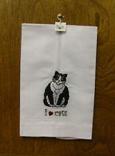 "Nina Lyman ""RESCUE ME NOW"" #45416 BLACK/WHITE CAT, Tea Towel -From Retail Store"