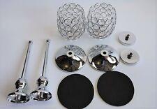 "Vincigant Silver Crystal Bowl Candle Holder Sets for Dining Room 8"" Silver -PAIR"