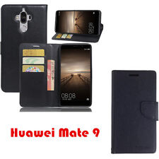 Huawei Mate 9 Mooncase Stand PU Leather TPU In Black Wallet Case Cover + TP