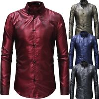 Luxury Men's Slim Fit Business Shirt Long Sleeve Dress Shirts Casual Shirt Tops