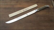 Fine UNUSED Vintage QUEEN CUTLERY CO. Chef's XL Bone Stag Handle Slicing Knife