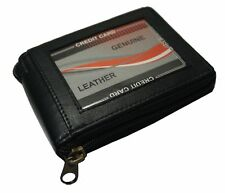 New Mens Bifold Zipper Around Leather Wallet Black Billfold With ID Window