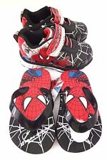 Marvel Comics Amazing Spider-Man Boy's  Light Up Sneakers & Slippers Size 7 NWT