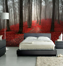 HQ Foggy Forest Red Tree Autumn Misty Wall Mural Landscape Photo Wallpaper Art 9