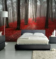 HQ otoño, con niebla Bosque árbol rojo Misty Mural de Pared Foto De Paisaje Wallpaper Art 9