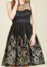 Geode Plus Size 1X Black Gold Floral Embroidered Illusion Dress Vintage Style