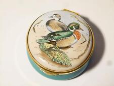 Vintage WOOD DUCK R. McPHAIL Staffordshire Enamel Trinket Pill Box Boxed #39