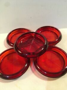"""Ruby Red Glass Drink COASTER (5)  Anchor Hocking 3.75"""" Bar ware Coffee Table"""