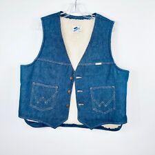 Wrangler No Fault Denim Mens Xl Vintage Jean Vest Shearling Lined 100% cotton