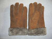 vintage 70s Lederhandschuhe Fell Opa`s Handschuhe Leder 70er oldschool