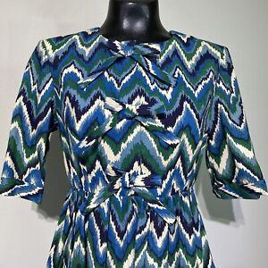 Size 6 Womans ALEXANDER BERARDI NEW YORK Chevron Bow Short Sleeve Dress