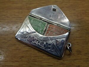 Antique solid silver double stamp holder/case, in envelope form. Chester 1914
