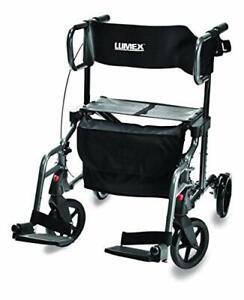 Lumex HybridLX Rollator & Transport Wheelchair, Titanium, LX1000T