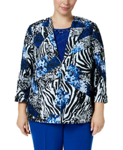Alfred Dunner Plus Size High Roller 3/4-Sleeve Printed Jacket, 16W Retail $76.00