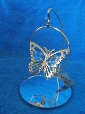 Kg & C Inc Butterfly & Mirror Stand 24 Gold Plated & Crystals Christmas Ornament