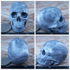 """1.98"""" Chinese Crazy Lace Skull Carved Stone 3.1oz 88g Crystal Healing Realistic"""