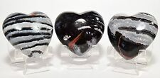 """2"""" Banded Multicolor Agate Puffy Heart Polished Crystal Palm Stone - India (1PC)"""