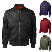 Fashion Men Spring Winter Casual Solid Slim Bomber Jacket Coat Zipper Outwear