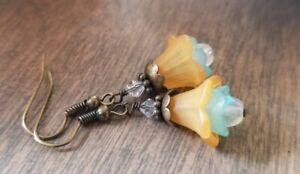 Orange Flower Earrings Lucite Czech Glass Beaded Dangle Handmade Bronze Crystal