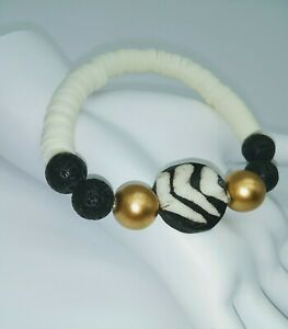 TRIBAL STYLE STACKING AFRICAN BONE POLYMER CLAY BRACELET