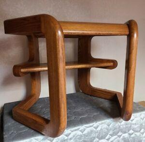 Mid-Century Modern Hexagon Floating Shelf End Table | Smoked Glass | Oak Base