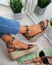 Women Leopard Print Platform Sandals Espadrille Ankle Strap Shoes Sizes 2.5-9