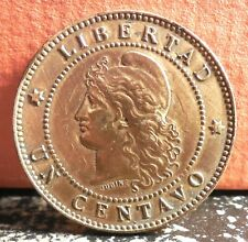 Rare Low Mintage 1889 Argentina 1 Centavo with Strike Through Error KM# 32