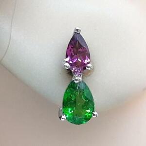 Genuine .75ctw Chrome Diopside & Rhodolite Garnet 925 Silver Stud Earrings